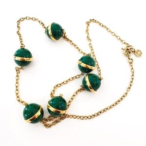NWOT! J. Crew Sweater Necklace Green + Gold